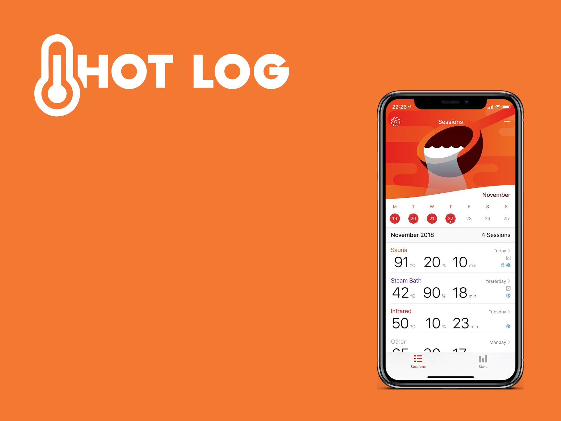HotLog - Sauna Session Tracking App